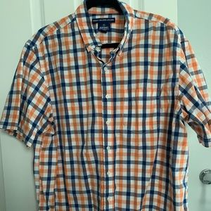 Old navy blue and orange checkered button down